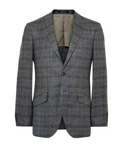 Richard James | Seishin Slim-Fit Checked Silk Linen And Wool-Blend Blazer Gray