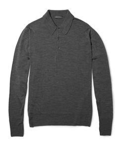 John Smedley | Cotswold Merino Wool Polo Shirt Gray