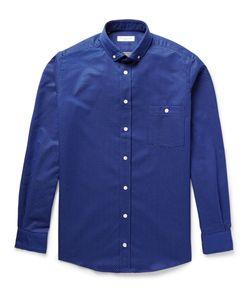 Richard James | Slim-Fit Button-Down Collar Pin-Dot Cotton Shirt Blue