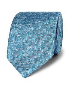 Richard James | Mélange Woven Silk Tie Blue