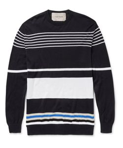 Casely-Hayford | Harold Striped Cotton Sweater Blue