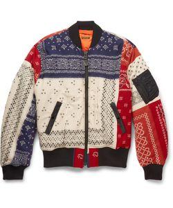 Kapital   Patchwork Wool Bomber Jacket Red