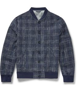 Richard James | Slim-Fit Checked Cotton Silk And Linen-Blend Bomber Jacket Blue