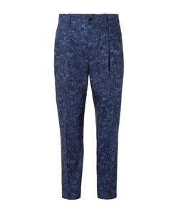 Casely-Hayford | Blue Rowley Tapered Mottled Cotton Suit Trousers Blue