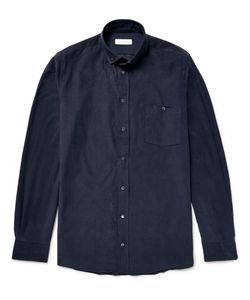 Richard James | Slim-Fit Button-Down Collar Cotton-Corduroy Shirt Blue