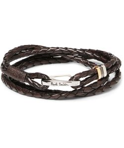 Paul Smith | Woven Leather Wrap Bracelet Brown