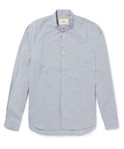 Folk   Slim-Fit Grandad-Collar Striped Cotton Shirt