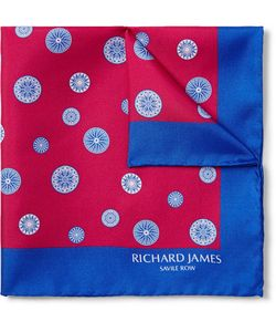 Richard James | Compass-Printed Silk-Twill Pocket Square