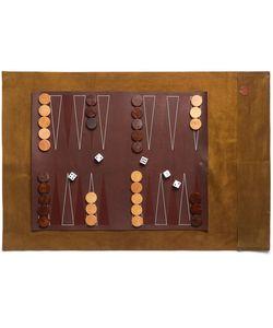 Folk   Suede And Leather Travel Backgammon Set