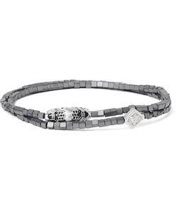Luis Morais | White Gold Hematite And Crystal Wrap Bracelet