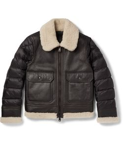 Moncler | Laredo Shearling-Trimmed Leather And Quilted Shell Down Jacket
