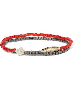 Luis Morais | Hematite Bead Gold And Diamond Wrap Bracelet