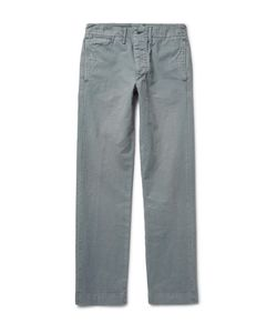 Rrl | Officers Slim-Fit Garment-Dyed Herringbone Cotton Trousers