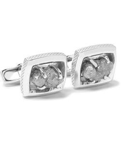 Tateossian | Signature Ruthenium-Plated Rough Diamond Cufflinks
