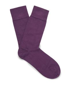 John Smedley | Ribbed Cotton-Blend Socks