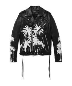 Amiri | Embellished Hand-Painted Vitellino Leather Biker Jacket