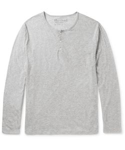 Hartford | Slim-Fit Mélange Cotton-Jersey Henley T-Shirt