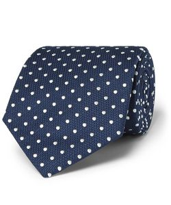 Dunhill | 8cm Polka-Dot Mulberry Silk And Cotton-Blend Jacquard Tie