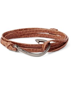 Miansai | Grained-Leather And Silver-Plated Hook Wrap Bracelet
