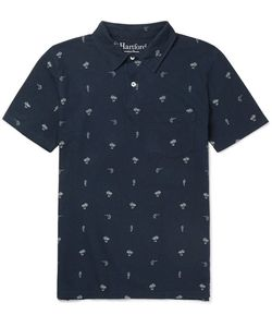 Hartford | Printed Cotton And Linen-Blend Jersey Polo Shirt