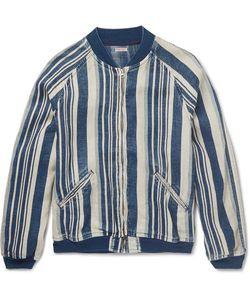 Kapital   Striped Linen Bomber Jacket
