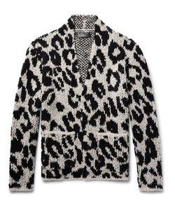 Amiri | Snow Leopard Bouclé-Knit Wool-Blend Cardigan