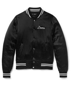 Amiri | Lovers Embellished Silk-Satin Bomber Jacket