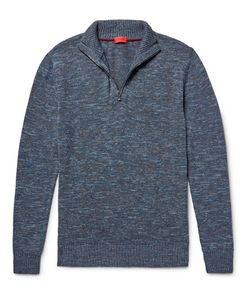 Isaia | Mélange Cotton And Linen-Blend Half-Zip Sweater