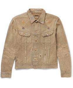 Kapital   Cropped Distressed Painted Denim Jacket