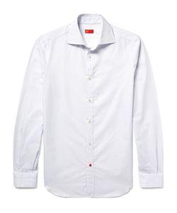 Isaia | Slim-Fit Pin-Dot Textured Cotton-Poplin Shirt