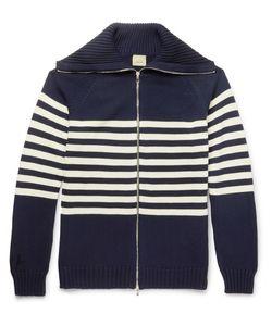 Wooster + Lardini   Striped Cotton Zip-Up Cardigan