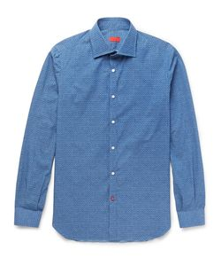 Isaia | Slim-Fit Printed Cotton-Poplin Shirt