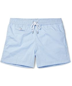 Hartford | Slim-Fit Mid-Length Striped Seersucker Swim Shorts