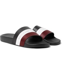 Moncler   Basile Striped Leather And Rubber Slides