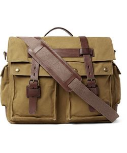 Belstaff | Colonial Leather-Trimmed Cotton-Canvas Messenger Bag