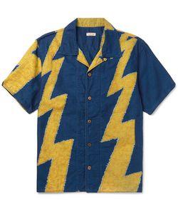 Kapital | Camp-Collar Thunder-Print Cotton And Linen-Blend Shirt