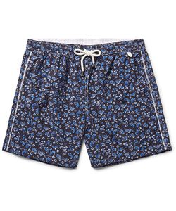 Isaia | Slim-Fit Mid-Length Paisley-Print Swim Shorts