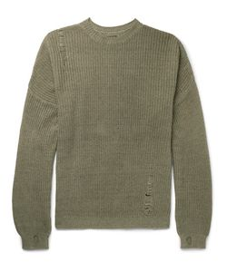 Kapital   Oversized Distressed Ribbed Cotton And Linen-Blend Sweater Army