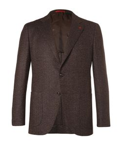 Isaia | Slim-Fit Mélange Herringbone Wool And Cashmere-Blend Blazer