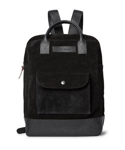 Oliver Spencer | Pebble Grain Leather-Trimmed Suede Backpack