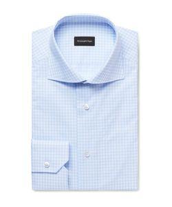 Ermenegildo Zegna | Cutaway-Collar Checked Cotton-Poplin Shirt