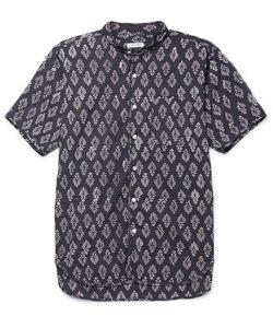 Engineered Garments | Grandad-Collar Printed Cotton-Voile Shirt