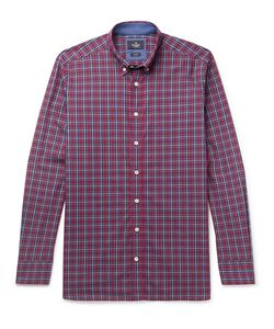 Hackett   Slim-Fit Button-Down Collar Checked Cotton Shirt