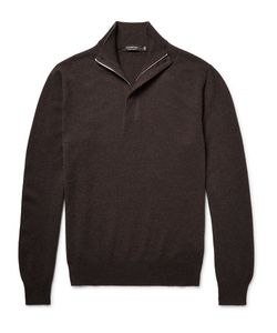 Ermenegildo Zegna | Suede-Trimmed Cashmere Half-Zip Sweater