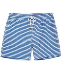 Hartford | Mid-Length Striped Cotton-Blend Swim Shorts