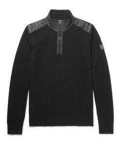 Belstaff   Kilmington Shell-Trimmed Merino Wool Half-Zip Sweater