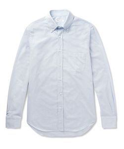 Loro Piana | Alfred Button-Down Collar Puppytooth Brushed-Cotton Shirt Sky
