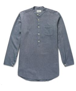 Oliver Spencer | Panarea Grandad-Collar Cotton-Jacquard Shirt