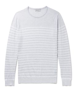 John Smedley | Striped Knitted Sea Island Cotton Sweater Light