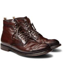 Officine Creative | Anatomia Cap-Toe Distressed Leather Boots